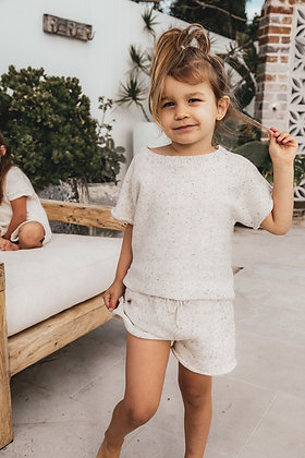Mini Knit Set inBoneSprinkles By Fable and Ford Timeless sprinkle knitwear pieces in 100% cotton
