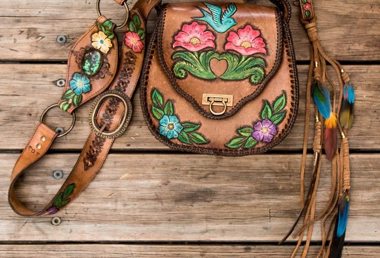 Wild Flower Bag With High Grade Turquoise | Buffalo Girl