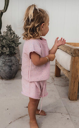 Mini Knit Set inPinkSprinkles By Fable and Ford Timeless sprinkle knitwear pieces in 100% cotton
