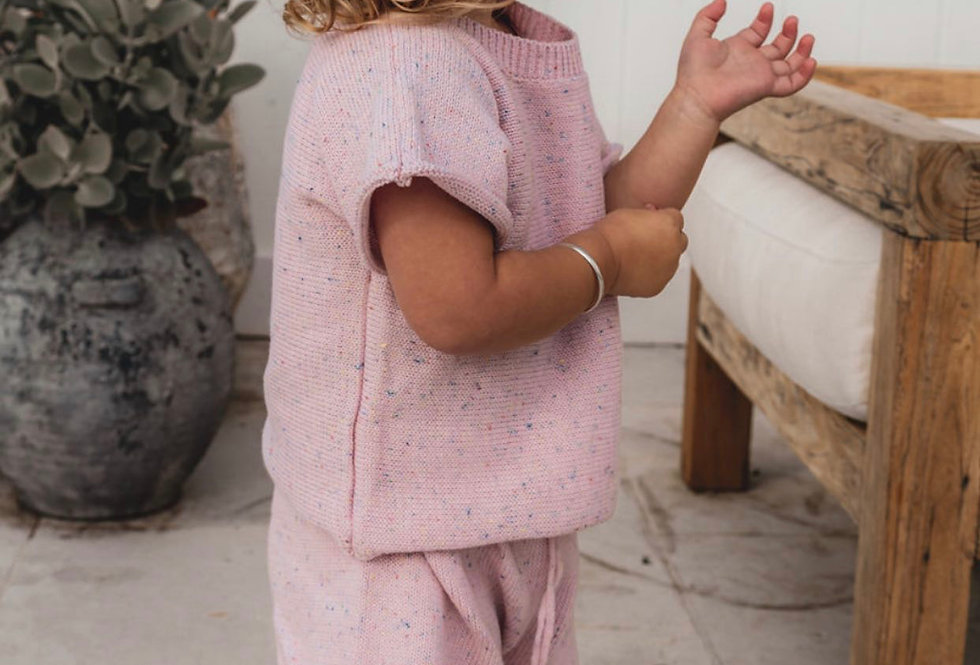 Mini Knit Set in Pink Sprinkles  By Fable and Ford Timeless sprinkle knitwear pieces in 100% cotton