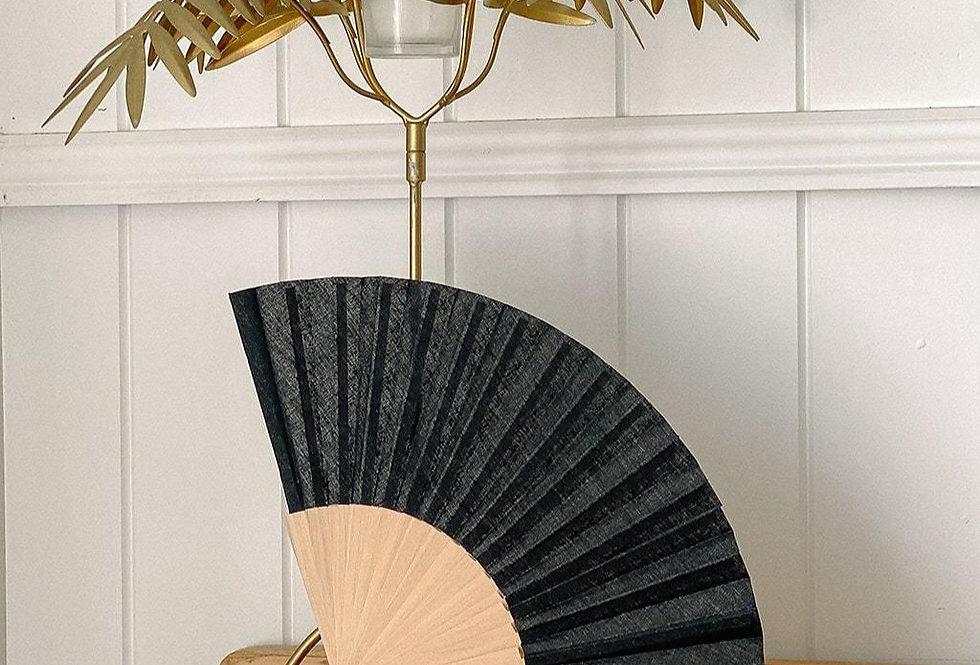 Linen Fan in Black byThe Beach People