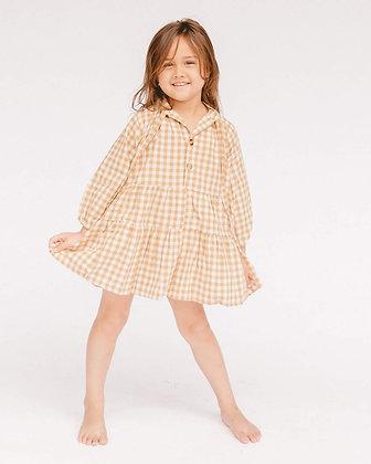 Mini Avalon Smock Dress   Caramel Gingham   The Lullaby Club
