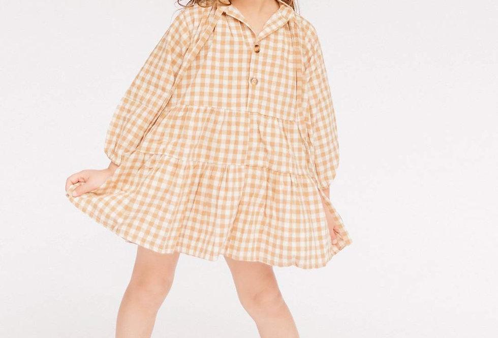 Mini Avalon Smock Dress | Caramel Gingham | The Lullaby Club