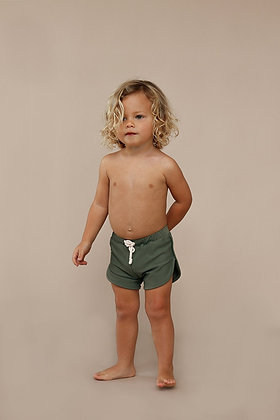Mesa Trunks in Mossby Ina Swim    70's inspired style  Elastic waist with adjustable drawstring tie