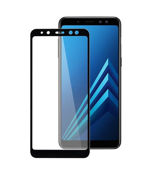 Samsung  A8 Plus 2018 Black Tempered Full Glass