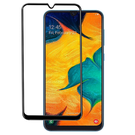 Samsung A30s Black Tempered Full Glass