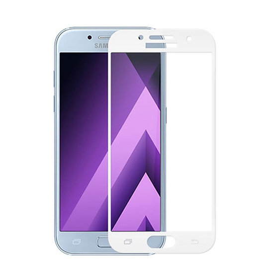 Samsung A7 -2017 white Tempered Full glass