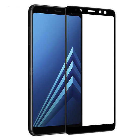 Samsung A8 2018 Black Tempered Full Glass
