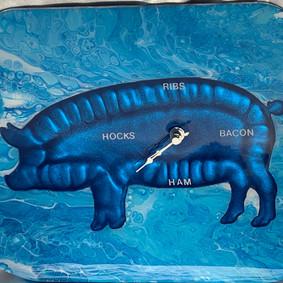 Blue Piggy Clock (SOLD)