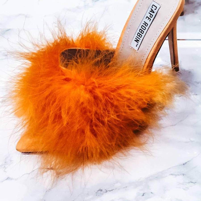 Cape Robin – Aves Faux Fur Open Toe Pointy Toe Stiletto High Heels