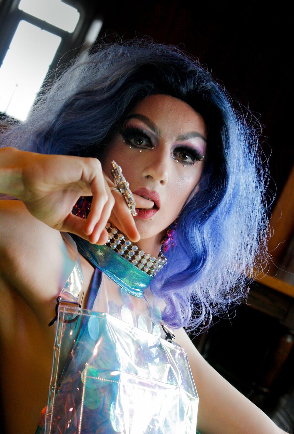 Drag Queen, Bloomington, Blue hair, SEASON photo shoot