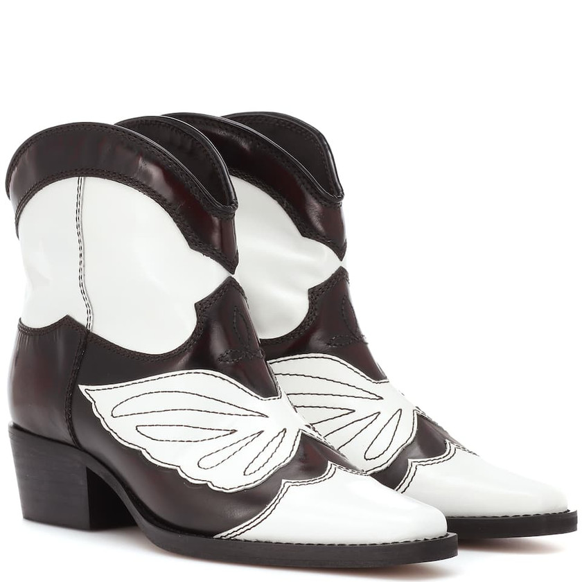 Ganni -Meg Leather Cowboy Boots