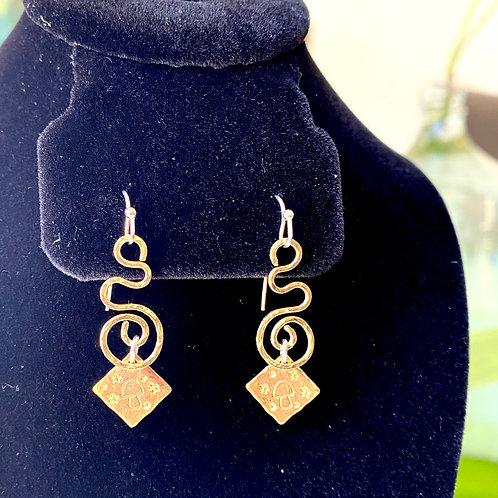 Brass swirls+stamped mushrooms // earrings
