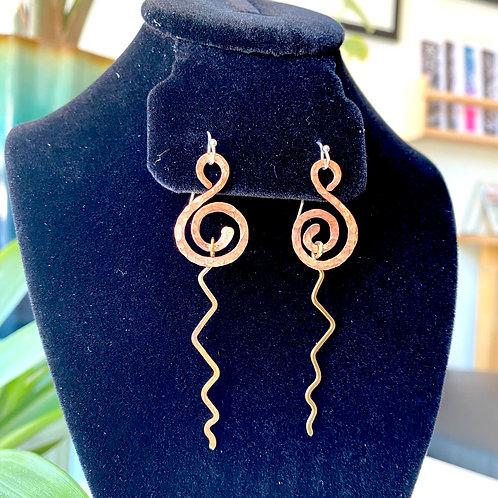 Copper swirls with brass lightning // earrings
