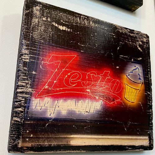 Zesto's sign // photograph // mixed media // on wood