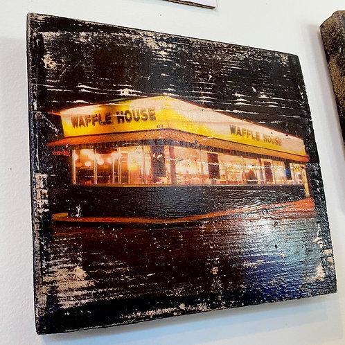 Waffle House // photograph // mixed media // on wood