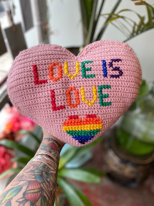 """""""Love is Love"""" // hand-knitted pillow"""