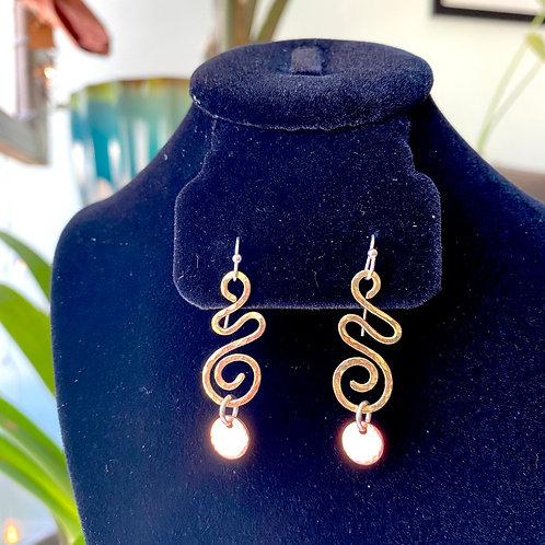 Brass swirls+copper discs // earrings