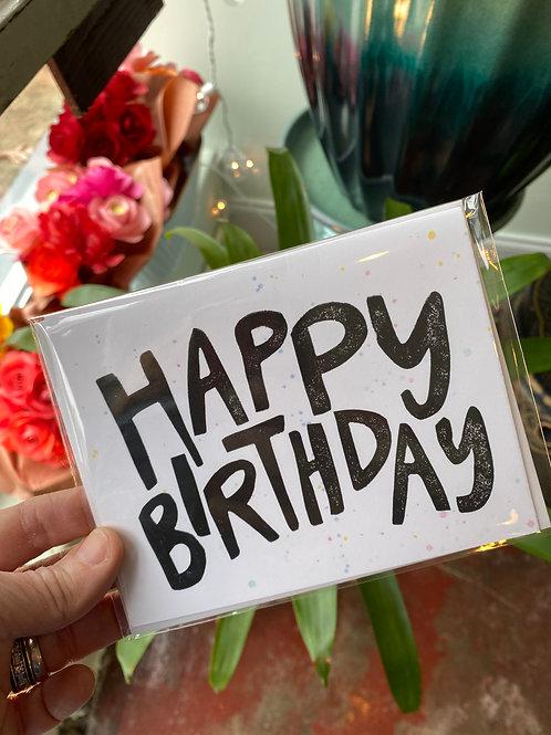 Happy Birthday (multi-color splatter) // greeting card