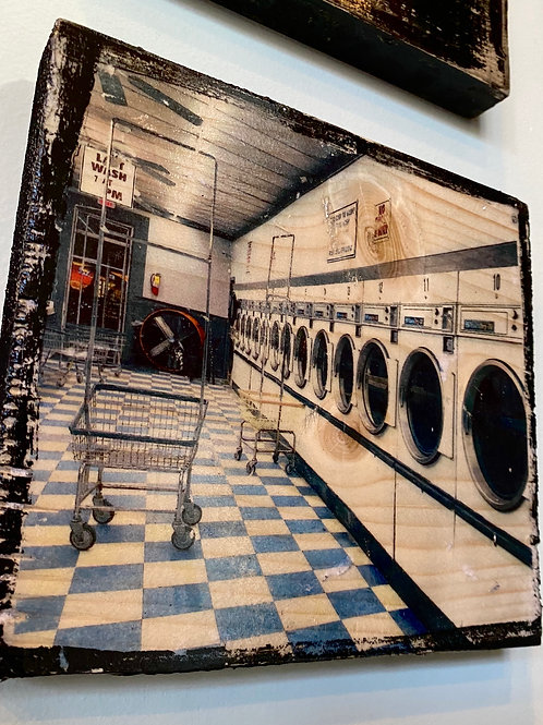 Midtown Cleaners and Laundry // photograph // mixed media // on wood