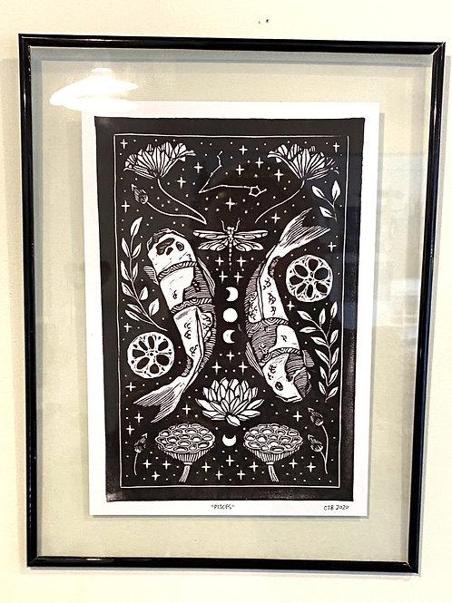 """framed """"Pisces"""" // block print // black"""