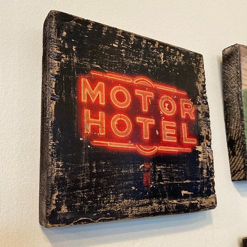 """Motor Hotel"" // photograph // mixed media // on wood"