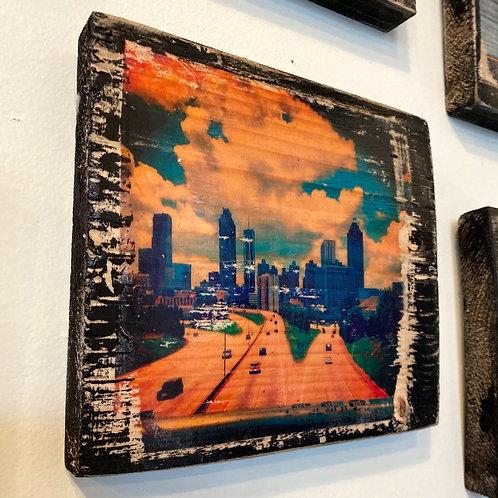 Atlanta skyline // photograph // mixed media // on wood