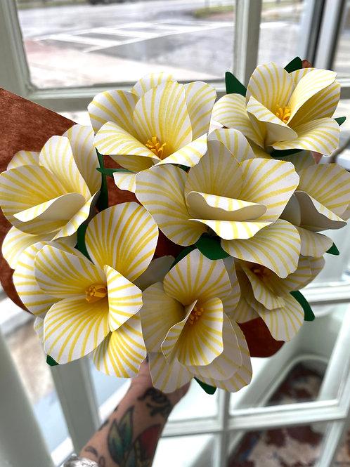 Yellow stripey lilies // paper flower bouquet