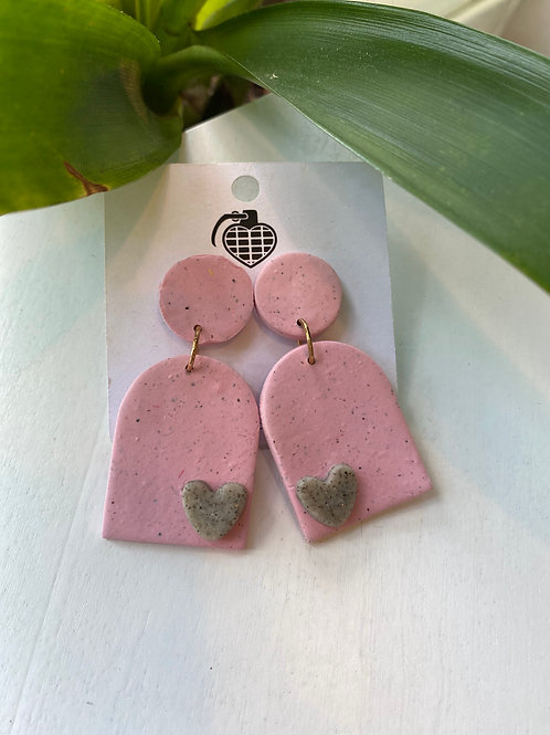 Pink Dome+Grey Heart // earrings