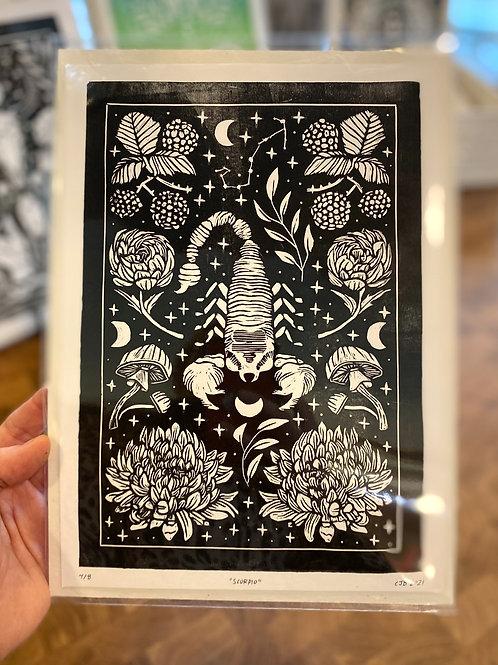 """Scorpio"" // block print // black"