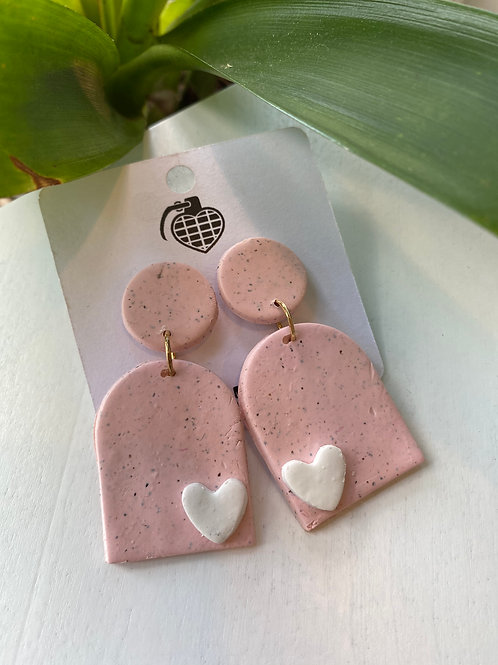 Pink Domes+White Hearts // earrings