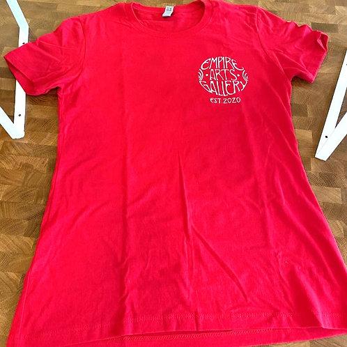 """Women's red short sleeve shirt """"Zuul"""" design"""