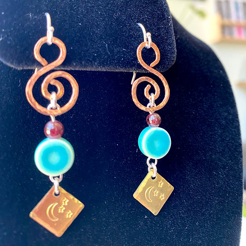 Turquoise ceramic+garnet // earrings