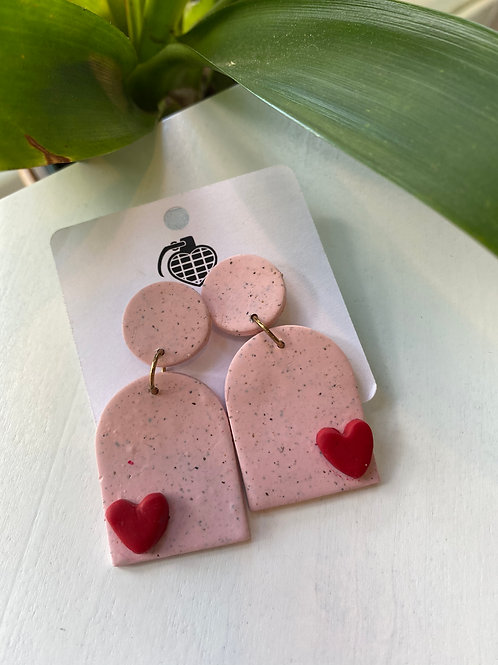 Pink Domes+Red Hearts // earrings