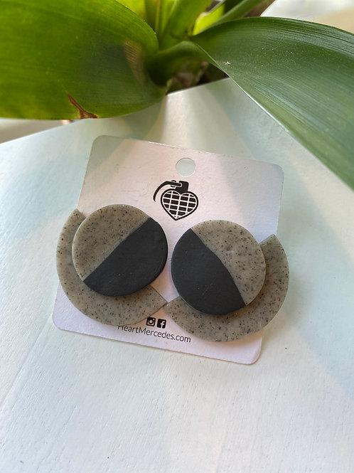 Large Black+Grey // round fan // earrings