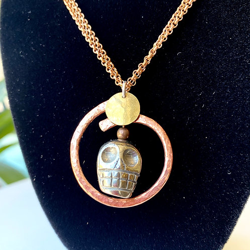 Pyrite skull // necklace