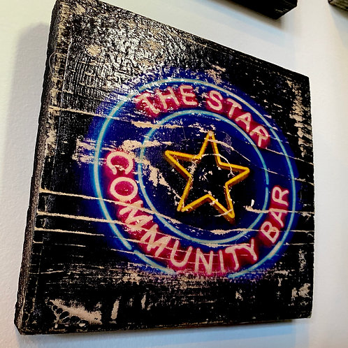 The Star Community Bar sign // photograph // mixed media // on wood