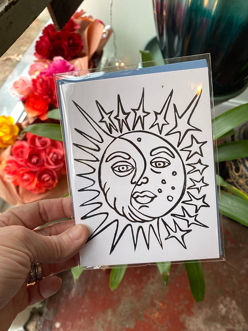 Sun+moon+stars // greeting card