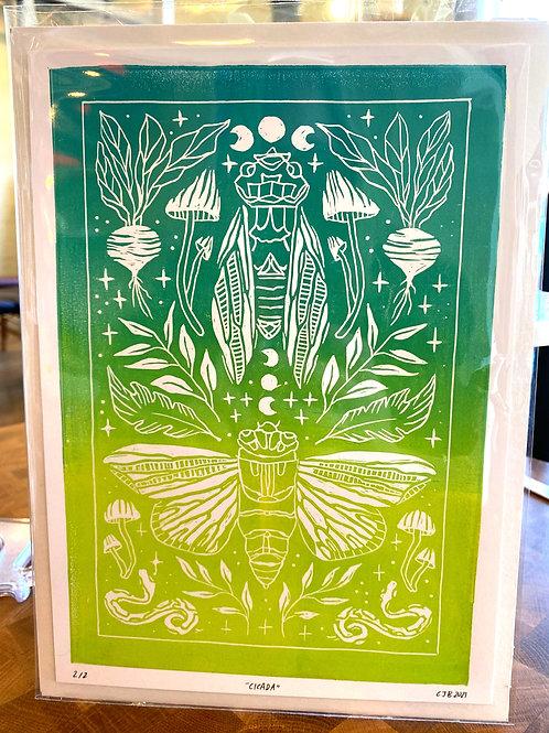"""Cicada""// block print // green"