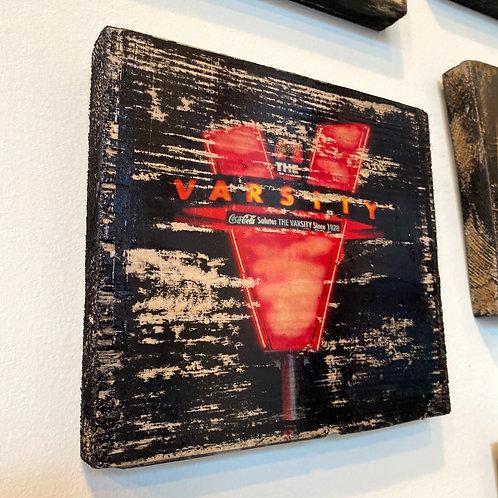The Varsity sign // photograph // mixed media // on wood