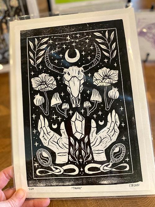 """Taurus"" // block print // black"