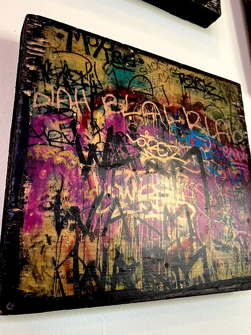 The Earl's women's room graffiti // photograph // mixed media // on wood