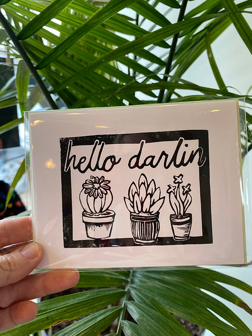 """Hello darlin"" // greeting card"
