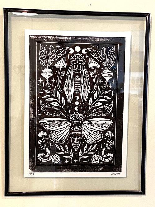 """framed """"Cicada"""" // block print // black"""