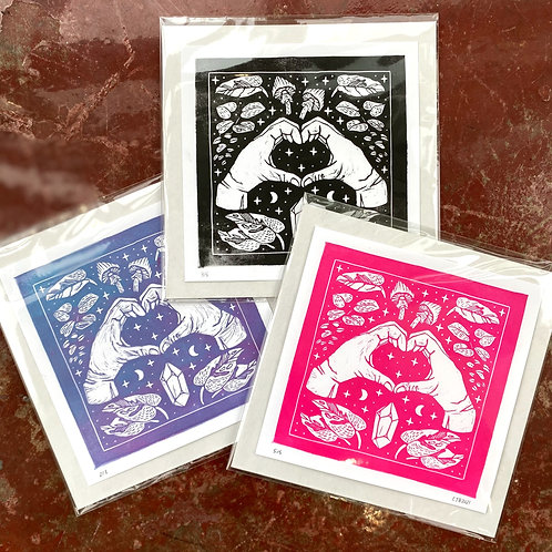 """""""I love you"""" // block print // choice of color"""