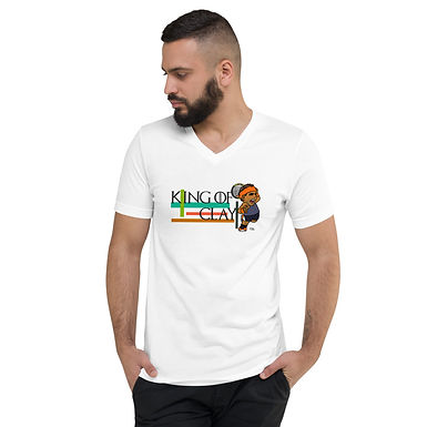 Unisex Short Sleeve V-Neck T-Shirt - Rafa King of Clay