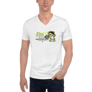 Unisex Short Sleeve V-Neck T-Shirt - Roger King of Grass