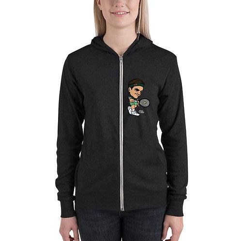 Unisex zip hoodie - King Roger elegant backhand