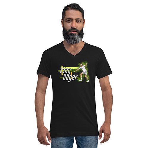 Unisex Short Sleeve V-Neck T-Shirt - Roger King of Grass R