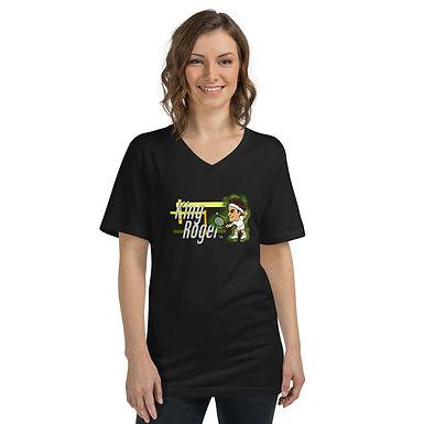 Unisex Short Sleeve V-Neck T-Shirt - Roger King of Grass